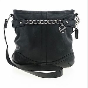 COACH SIGNATURE CHAIN LEATHER CROSSBODY BAG